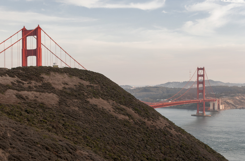 Widok na Golden Gate Bridge z Kirby Cove